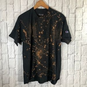 Champion Black Tie-Dye Distressed Short Sleeve Tee